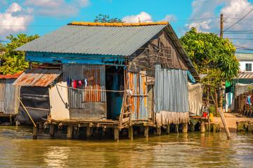 Vietnamese river life, Mekong River Delta in Sa Dec, Vietnam, Indochina, Southeast Asia, Asia.