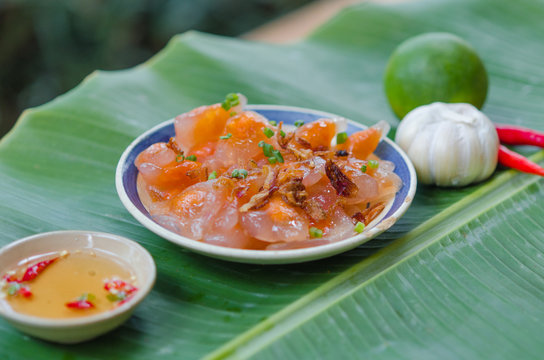 Banh Quai Vac Phan Thiet. This is a common rice cake with shrimp and pork meat inside which eating sweet and sour fish sauce