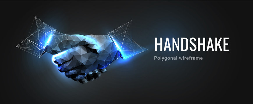 Two hands. Handshake. Abstract illustration isolated on dark background. Polygonal wireframe composition. Gesture hands. Development symbol. Plexus lines and points in silhouette.