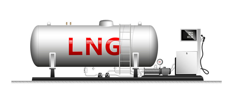 Automotive modular filling with liquefied gas. Large cylindrical cylinder with natural gas. Column with a hose for refueling cars.