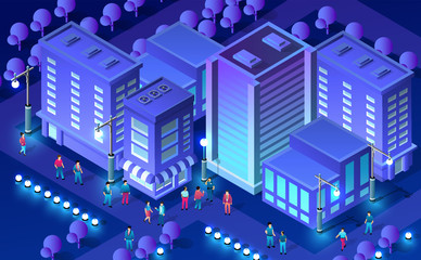 Isometric ultra city concept Fotomurales
