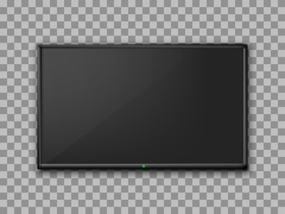 Realistic TV screen. Empty TV frame transparent background. Modern stylish lcd monitor, led type. Blank television template – for stock vector