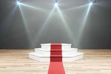 Glowing pedestal with red carpet