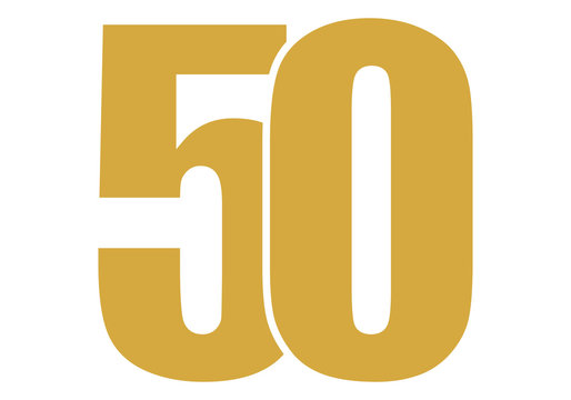 Número cincuenta de color dorado sobre fondo blanco.