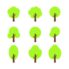 Tree Icon Vector Set, Flat Vector Style