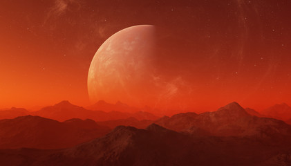 Photo sur Aluminium Brique 3d rendered Space Art: Alien Planet - A Fantasy Landscape with red skies and stars