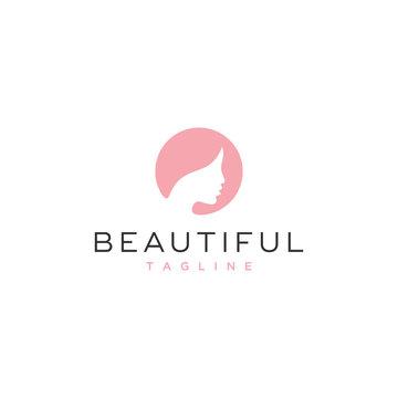 beautiful woman vector icon logo design