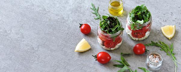 Healthy salad in jars. Keto diet Banner.