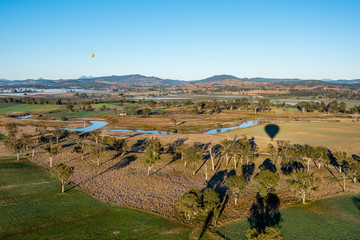 Farmland Outback Hot Air Ballooning Aerial View
