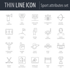 Icons Set of Sport Attributes. Symbol of Intelligent Thin Line Image Pack. Stroke Pictogram Graphic for Web Design. Quality Outline Vector Symbol Concept Collection. Premium Mono Linear