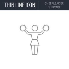 Symbol of Cheerleader Support. Thin line Icon of Sport Attributes. Stroke Pictogram Graphic for Web Design. Quality Outline Vector Symbol Concept. Premium Mono Linear Beautiful Plain Laconic Logo