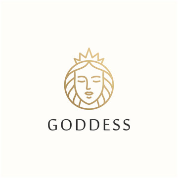 beautiful goddess outline vector logo design