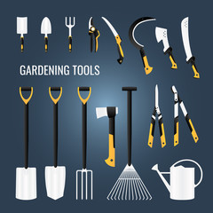 Set of Gardening Farming Tools Icons, Hardware, Everyday Common Equipment, Cutters, Shears Logo Templates Objects