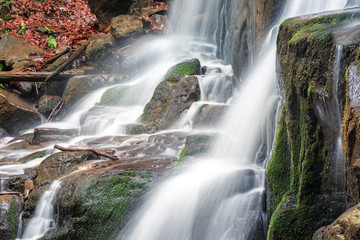 close up details of waterfall stream. rapid flow with long exposure. wet mossy boulders. fallen foliage branches and sticks. refreshing nature background.