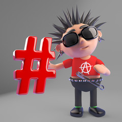 Vicious punk rocker loves social media and holds a hashtag to prove it, 3d illustration