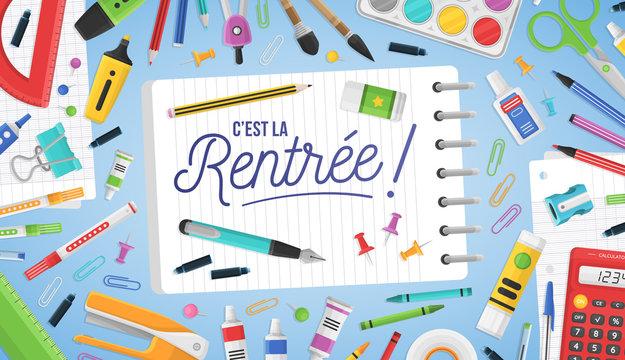 C'est la rentrée - Rentrée des classes - Bannière de rentrée scolaire colorée, avec des fournitures de bureau.