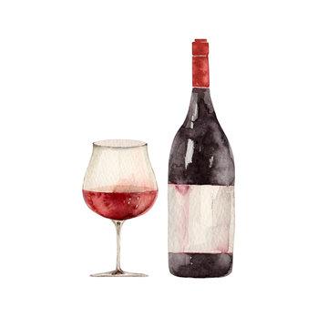 赤ワインのグラスとボトル 水彩 イラスト