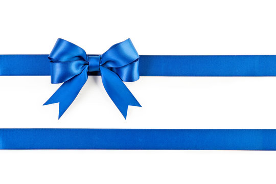 Blue bow and ribbon isolated on white background.