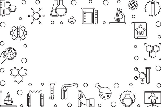 Chemistry Science horizontal frame with empty space - vector illustration made with chemical outline concept icons