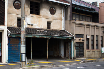 The image of old abandoned store in downtown Hiroshima, Japan.