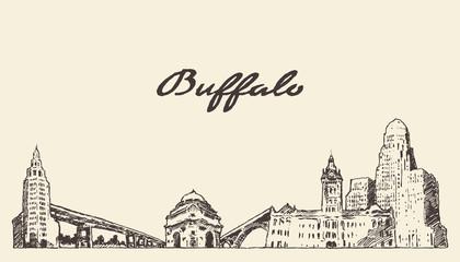 Wall Mural - Buffalo skyline New York USA drawn vector sketch