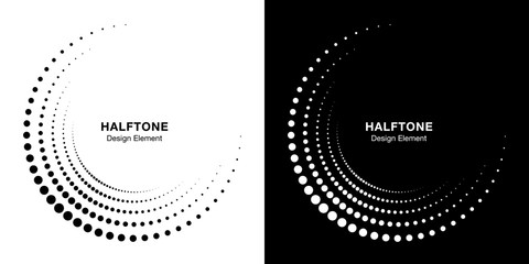 Wall Mural - Set of Halftone incomplete circle frame dots logo isolated on background. Circular part design element for treatment, technology. Half round border Icon using halftone circle dots texture. Vector