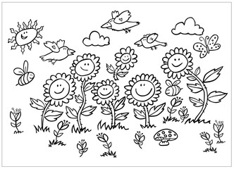 Vector black and white cartoon sunflowers, birds and bees illustration. Suitable for greeting cards or colouring activity sheet.