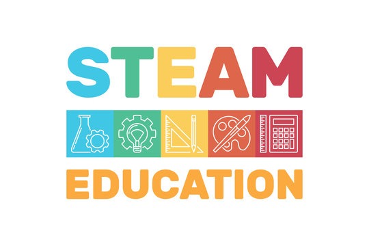 STEAM Education vector colored modern banner. Science, Technology, Engineering, Art, and Math illustration