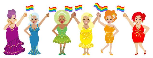 Six drag queens holding rainbow flags - LGBT parade concept art