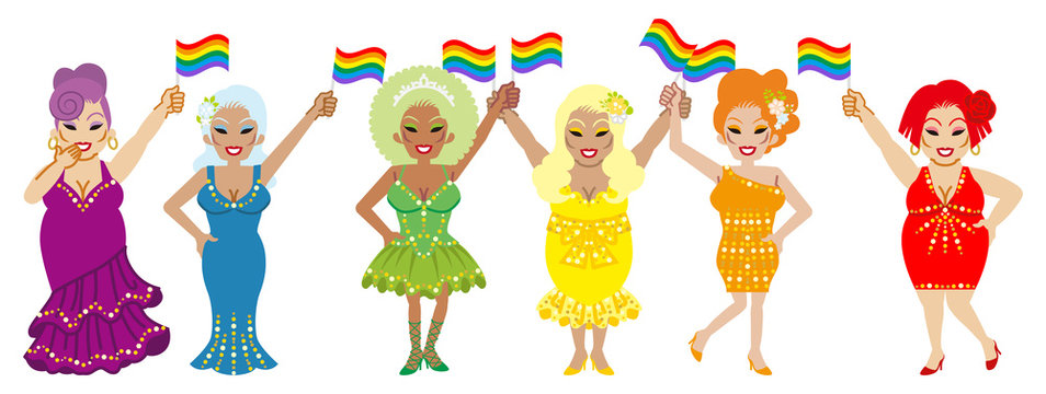Six drag queens holding rainbow flags - LGBT parade concept art