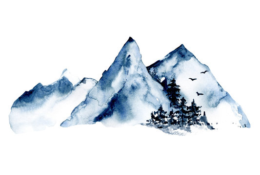 Mountains, forest nature landscape. Watercolor wildlife. Perfectly for tourism and outdoor design. Hand painting sketch scenery. Illustration isolated on white background.