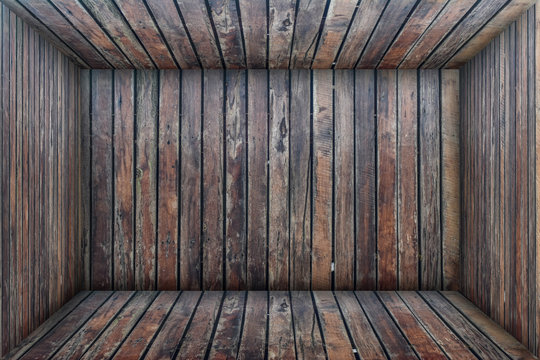 Inside an empty wooden room, wood box background. Interior vintage concept.