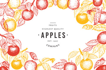 Apple branches design template. Hand drawn vector garden fruit illustration. Engraved style fruit frame. Vintage botanical banner. Wall mural