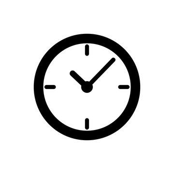 Black Clock icon isolated on white background. Vector Illustration