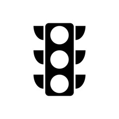 Black Traffic light icon isolated on white background. Vector Illustration