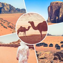Collage of Wadi Rum Desert - Red Desert ( Jordan ) - travel background (my photos).