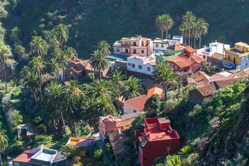 View above the village Macayo, located in the canyon of Vallehermoso what means the beautiful valley Wall mural