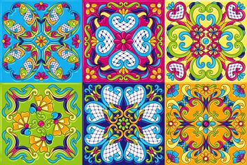 Printed kitchen splashbacks Moroccan Tiles Mexican talavera ceramic tile pattern.