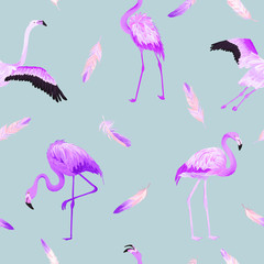 Canvas Prints Flamingo Tropical Flamingo seamless vector summer pattern with pink feathers. Bird background for wallpapers, web page, texture, textile.