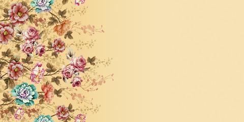 Papiers peints Fleurs Vintage indian kurti digital background with flower front side
