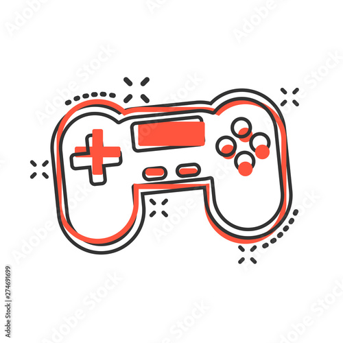Joystick sign icon in comic style  Gamepad vector cartoon