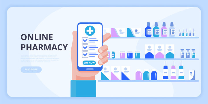 Hand holding smartphone buy online medicine. The concept of online pharmacy