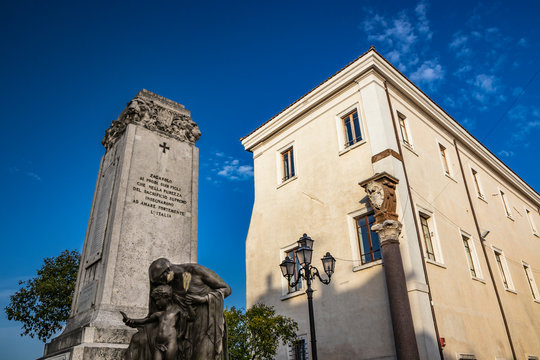 """Rospigliosi palace, formerly castle of the Colonna princes. The war memorial: """"Zagarolo, to his brave children, who in the purity of the supreme sacrifice, taught to love Italy strongly"""". Rome, Lazio"""