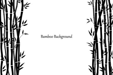 Background template with bamboo stalks and leaves. Minimalistic design in black. Vector illustration