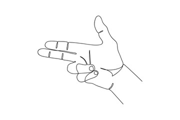One line hand in gun gesture. Continuous line drawing. Vector illustration.