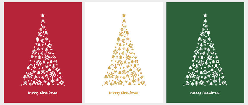 Merry Christmas Vector Card. White and Gold Christmas Tree Isolated on a Red, White and Green Background. Christmas Illustration in 3 Different Colors. Tree Made of Stars, Hearts, Trees and Snowflakes