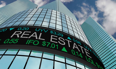 Real Estate Property Assets Stock Market Industry Sector Wall Street Buildings 3d Illustration
