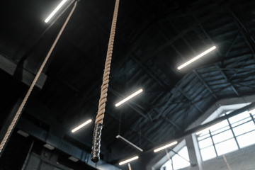 Ropes hanging from the ceiling in the gym. Copy space, place for text.