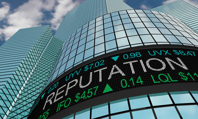 Reputation Good Strong Stock Market Industry Sector Wall Street Buildings 3d Illustration