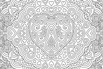 Coloring book page with different heart shapes